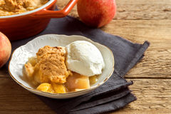 Peach cobbler with ice cream Stock Image