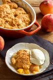 Peach cobbler with ice cream royalty free stock photos