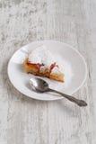 Peach cobbler. Peach pie sprinkled with sugar royalty free stock photos