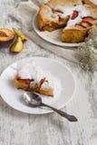 Peach cobbler. Peach pie sprinkled with sugar royalty free stock photo