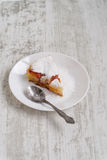 Peach cobbler. Peach pie sprinkled with sugar royalty free stock images
