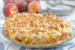 Peach Coconut Crumble Cake Royalty Free Stock Photo