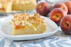 Peach Coconut Crumble Cake Stock Photos