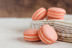 Peach color macaroons Royalty Free Stock Photos