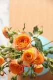 Peach color rose in blue vase Stock Images