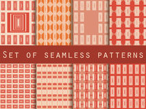 Peach color seamless patterns. Geometric patterns. Set. The pattern for wallpaper, tiles, fabrics and designs. Vector Stock Photography