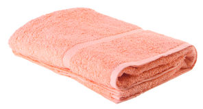 Peach colour blanket on the white background Stock Images