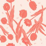 Peach coral tulips with coral butterflies seamless pattern royalty free illustration