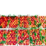 Peach crates Stock Photos