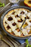 Peach crostata. Royalty Free Stock Images