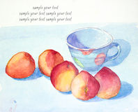 Peach and cup still life watercolor painted Stock Photo