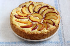 Peach and curd pie Royalty Free Stock Photo