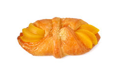 Peach danish isolated on white Royalty Free Stock Photo