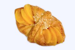 Peach danish pastry. Isolated on white background Royalty Free Stock Photo