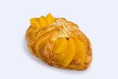 Peach danish pastry. Isolated on white background Royalty Free Stock Photos
