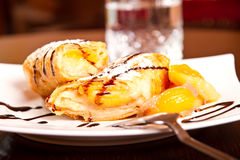 Peach dessert roll Stock Photography