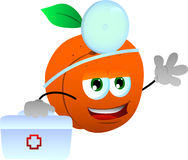 Peach doctor with first aid kit Royalty Free Stock Images
