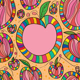 Peach draw seamless pattern Royalty Free Stock Photos