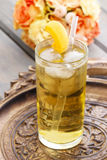Peach drink on wooden tray Royalty Free Stock Photos