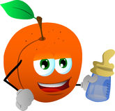 Peach with feeding bottle Stock Images