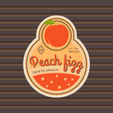 Peach fizz retro fruit label. And simple pattern backdrop. Vector illustration Royalty Free Stock Images