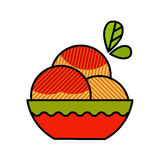 Peach flat icon with long shadow Stock Images