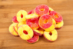 Peach flavored gummy candy Stock Photo
