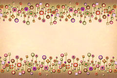Peach floral border background stock illustration