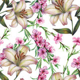 Peach flower on a branch,lily, watercolor, pattern seamless. Peach flower  branch lily watercolor handmade white background pattern seamless Royalty Free Stock Photos