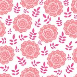 Peach flower and pink leaf vector seamless pattern vector illustration