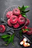 Peach, fresh peaches with leaves Stock Photos