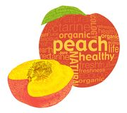 Peach fruit. Organic fruits concept was created with typographic design Royalty Free Stock Photos
