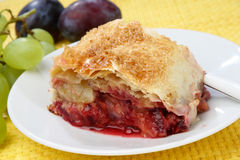 Peach fruit pie. On plate Stock Photography