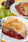 Peach fruit pie. On plate Royalty Free Stock Photo