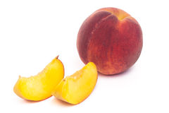 Peach fruit. Ripe peach fruit isolated on white background cutout Royalty Free Stock Images