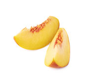 Peach fruit's slices composition isolated Stock Image
