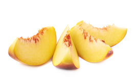 Peach fruit's slices composition isolated Royalty Free Stock Images