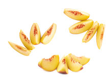 Peach fruit's slices composition isolated Royalty Free Stock Photography