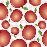 Peach Fruit Seamless Pattern on Tablecloth Royalty Free Stock Image