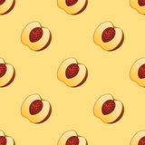 Peach fruit slice seamless pattern realistic 3d healthy vegetarian sweet ripe vector illustration. Juicy nectarine nature piece agriculture gourmet ingredient Royalty Free Stock Photo