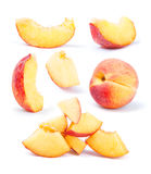 peach fruit sliced collection Stock Image