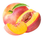 Peach fruit sliced collection isolated on white background Stock Images