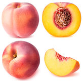 Peach fruit sliced collection isolated on white background Royalty Free Stock Images