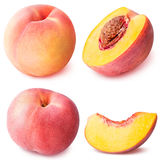 Peach fruit sliced collection isolated on white background Stock Photos
