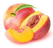 Peach fruit sliced collection isolated on white background. Clipping path Stock Photos