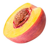 Peach fruit sliced isolated on white background. Clipping path Royalty Free Stock Photos