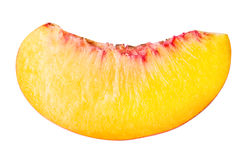 Peach fruit sliced isolated on white background stock photography