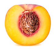 Peach fruit sliced isolated on white background. Clipping path Stock Photo