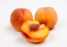 Peach, Fruit, Vegetarian Food, Isolated,. Juicy peaches isolated on white royalty free stock image