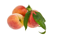 Peach fruits isolated over white Royalty Free Stock Photos